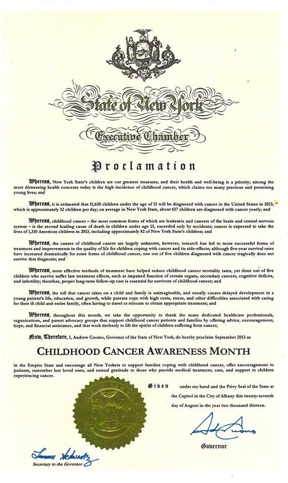 NYS September Childhood Cancer Awareness Month
